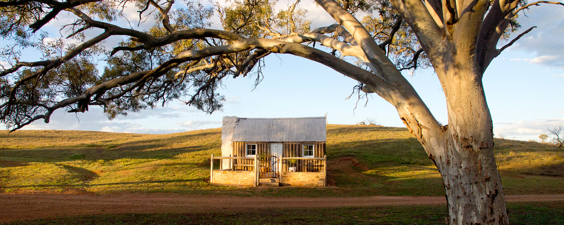 Traditional pine and pug cottage in the Flinders Ranges, featured on ABC TV's