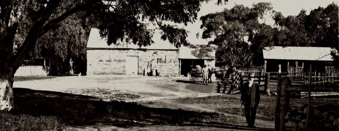 Station outbuildings at Holowiliena Homestead, circa 1920.